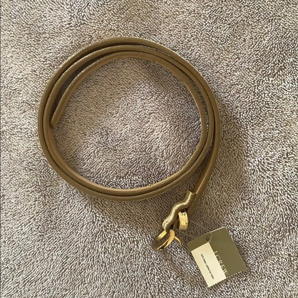 NWT J.Crew Gold leather belt size small